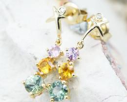 14k Gold Natural Color Sapphires & Diamond Earrings - E12339 - G109