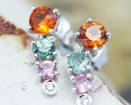14k White Gold Natural Color Sapphires & Diamond Earrings  - P12319 - G115