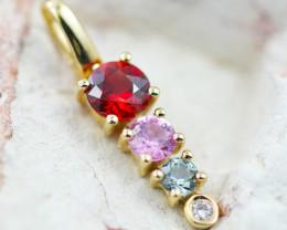 14k Gold Natural Color Sapphires & Diamond Pendant - P12319 - G120