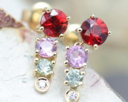 14k Gold Natural Color Sapphires & Diamond Earrings- E12319 - G121