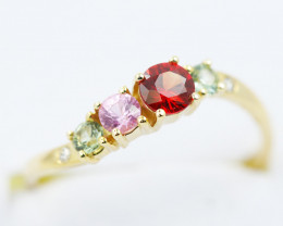 14k Gold Natural Color Sapphires & Diamond Ring Size M - R12319 - G122