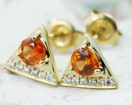 14k Gold Natural Color Sapphires & Diamond Earrings - E12340 - G79