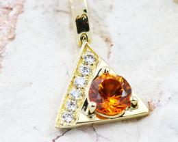 14k Gold Natural Color Sapphires & Diamond Pendant - P12340 - G80