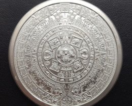Intricate detailed Aztec Two Ounce  Round .999 Bullion Silver CP 455