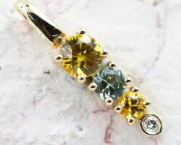 14k Gold Natural Color Sapphires & Diamond Pendant - P12319 - G84