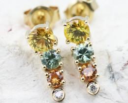 14k Gold Natural Color Sapphires & Diamond Earrings - E12319 - G85