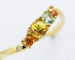 14k Gold Natural Color Sapphires & Diamond Ring Size N - R12319 - G86