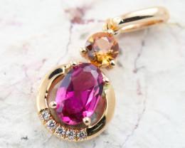14k Gold Natural Color Sapphires & Diamond Pendant - P12341 - G90