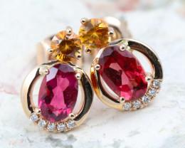 14k Gold Natural Color Sapphires & Diamond Pendant - E12341 - G91
