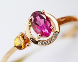 14k Gold Natural Color Sapphires & Diamond Ring Size N - R12341 - G92