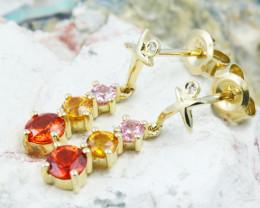 14k Gold Natural Color Sapphires & Diamond Earrings - E12339 - G94
