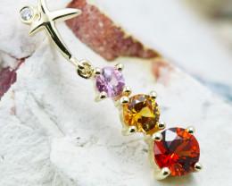 14k Gold Natural Color Sapphires & Diamond Pendant - P12339 - G96