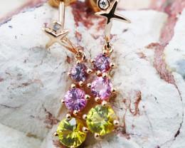 14k Rose Gold Natural Color Sapphires & Diamond Earrings - E12339 - G100
