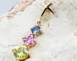 14k Rose Gold Natural Color Sapphires & Diamond Pendant - P12339 - G101