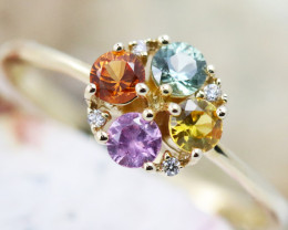 14k Gold Natural Color Sapphires & Diamond Ring Size M - R12308 - G46