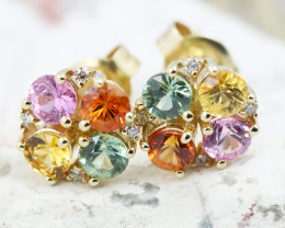 14k Gold Natural Color Sapphires & Diamond Earrings - R12308 - G47
