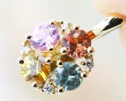 14k Gold Natural Color Sapphires & Diamond Pendant - P12308 - G48