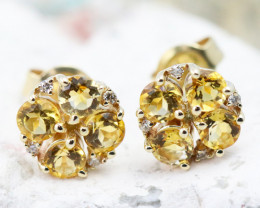 14k Gold Natural Citrine & Diamond Earrings - E12308 - G50