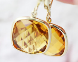 14 K Gold Citrine Earrings Sheppard hooks - 9855AC