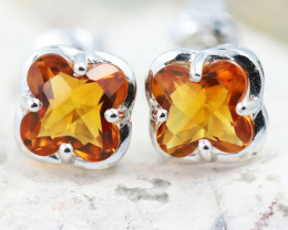 14 KW White Gold Citrine Earrings - E3991 - G14