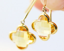 14k Gold Natural Citrine Earrings - E9372 - G23