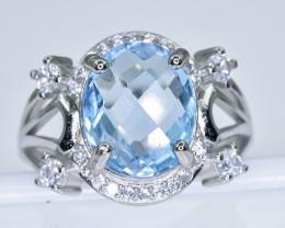 Topaz Ring  in Silver Ring  Size R    code NA 265