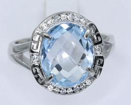 Topaz Ring  in Silver Ring  Size N   code NA 267