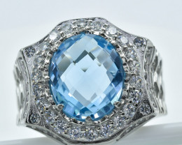 Topaz Ring  in Silver Ring  Size    Q code NA 268