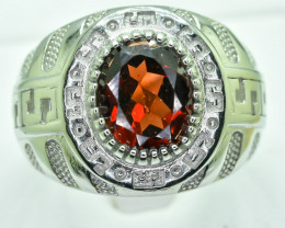 Garnet  Ring  in Silver Ring  Size   R  code NA 269