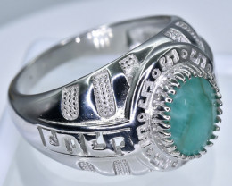 Emerald Ring  in Silver Ring  Size    T  code NA 271