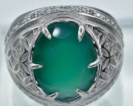 Green gemstone Ring  in Silver Ring  P Size    code NA 272