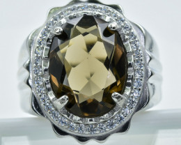 Smokey Quartz  Ring  in Silver Ring  Size LARGE X   code NA 273