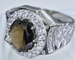 Smokey Quartz  Ring  in Silver Ring  Size   R code NA 274