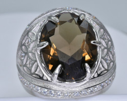 Smokey Quartz  Ring  in Silver Ring  Size  P  code NA 275