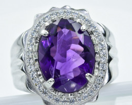 Amethyst  Ring  in Silver Ring  S Large Size V     code NA 279