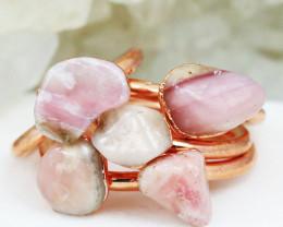 Five  Pink  Peru Opal Copper Electroformed Rings NA 281