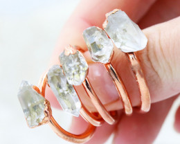 Five Terminated Crystal Copper Electroformed Rings NA 288