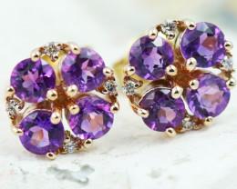 14k Rose Gold Amethyst & Diamond Earrings - E12308 - G55
