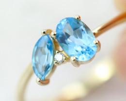 14k Yellow Gold Blue Topaz & Diamond Ring Size N - R12307 - G72