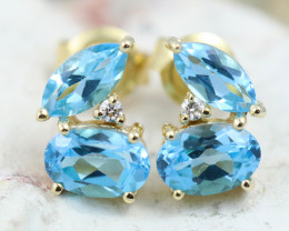 14k Yellow Gold Blue Topaz & Diamond Earrings - E12307 - G73