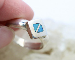 Inlay Opal in Silver ring size P    code NA 333