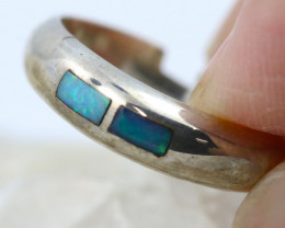Inlay Opal in Silver ring size N code NA 339
