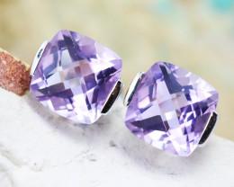 14 K White Gold Pink Amethyst Earrings E2420 - G12