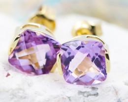 14 K Yellow Gold Amethyst Earrings 47 - D E3991 1500
