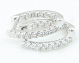 18K White Gold Diamond Earrings - H76 - E10129