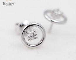 18K White Gold Diamond Earrings - H78 - E11230