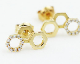 18K Yellow Gold Diamond Earrings - H80 - 17 E11398