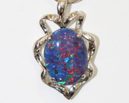925 ST/ SILVER RHODIUM PLATED OPAL TRIPLET  PENDANT [TP51 ]