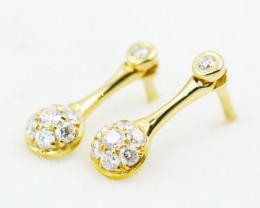 18K Yellow Gold Diamond Earrings - H89 - E11901