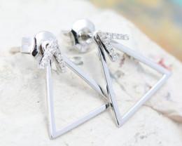 18K White Gold Diamond Earrings - H93 - E11607